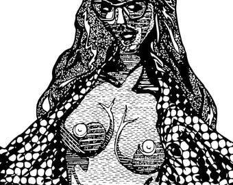 """""""Brynne"""" Erotic Coloring Page Download [300dpi, 8.25x11""""]"""