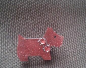 Red Scottie dog brooch