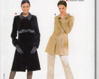 Free Us Ship Burda 8292 Sewing Pattern Coat Jacket Ribbon Trim Princess Seams Size 10/22 New Bust 32 34 36 38 40 42 44 plus New Unused