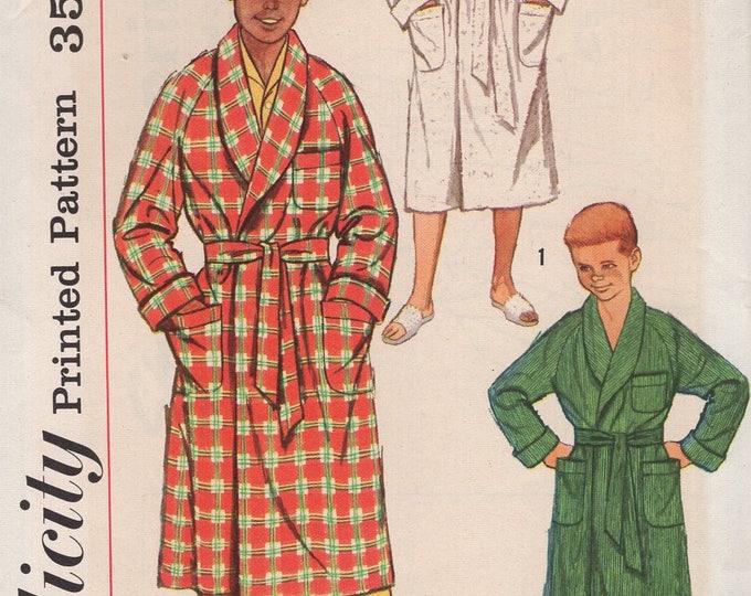 FREE US SHIP Vintage Retro 1950's 50's Sewing Pattern Simplicity 2313 Boys Raglan Sleeve Terry Cloth Wrap Bath Robe Uncut Size 6 Chest 24