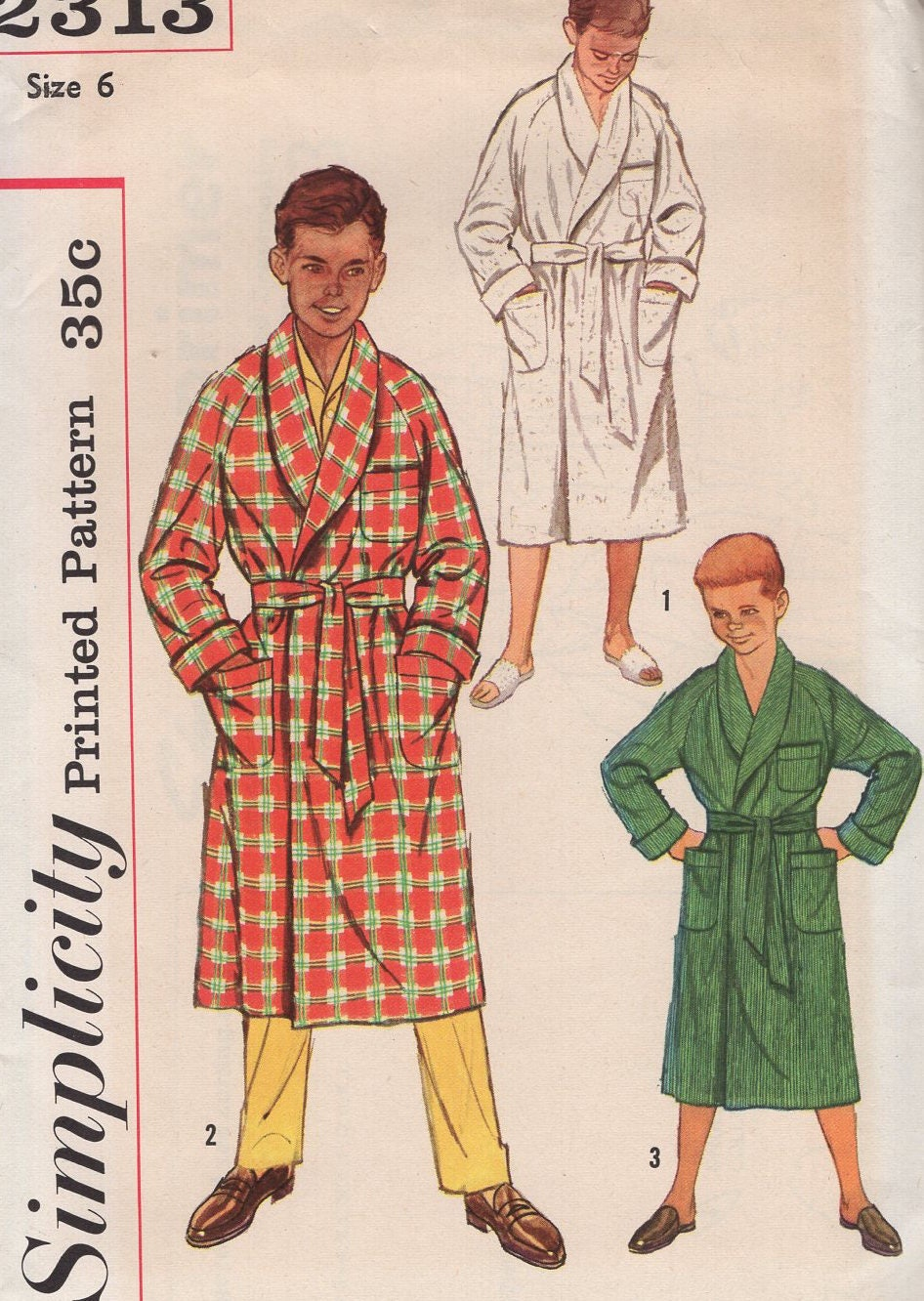 Free us ship vintage retro 1950s 50s sewing pattern simplicity free us ship vintage retro 1950s 50s sewing pattern simplicity 2313 boys raglan sleeve terry cloth wrap bath robe uncut size 6 chest 24 jeuxipadfo Gallery