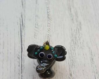 Elephant Necklace - Glass Elephant - Parade Elephant - Elephant Jewellery - Lampwork Elephant - Silver Jewellery - Indian Elephant - UK Made