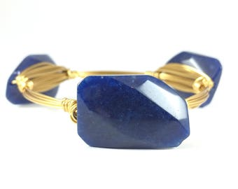 Navy Rectangle Jade Wire Wrapped Bangle - Wire Jewelry - Custom Bracelet - Gifts Under 20 - Gift For Her - Courtney And Courtnie
