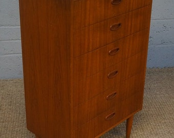 Vintage Teak Tall Boy Chest of Drawers