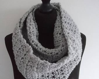 READY TO SHIP: Hand Crocheted Silver Cloud or Mustard Infinity Scarf