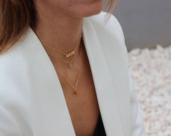 pole star gold necklace - minimal jewelry-Necklace Pole Star With Brilliant -North Star Necklace - Polaris Necklace