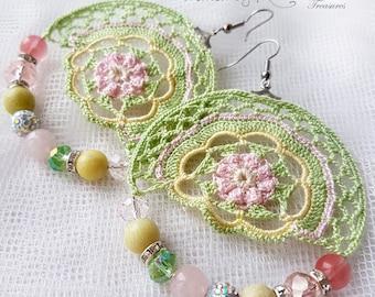 Crochet earrings, Hoop crochet earrings, Colorful earrings, Beaded earrings, Bohemian style, Romantic jewelry, Dangle earrings, Handmade