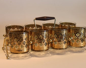 Culver Valencia Pattern - Set of 8 Highball Glasses in Brass Rack - Mad Men Bar - Vintage Barware - 22 Kt Gold Glasses