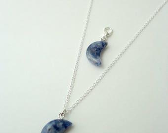 Best friends pet necklace - Blue spot, Cat collar charm, Dog collar charm, BFF, natural stones, Animalove
