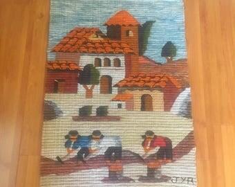Vintage Peruvian Folk Art village farming scene woven alpaca wool artist signed textile