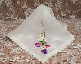 Pansey Embroidered White Handkerchief, Floral Embroidered Hanky, White Wedding Hanky, White Handkerchief