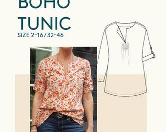 Sewing patterns tunic PDF pattern for women|Tunic PDF sewing pattern for women|Womens tunic sewing pattern|Boho tunic PDF pattern women