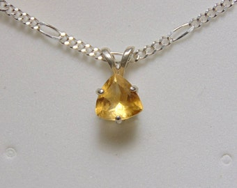 Trillion cut citrine in sterling silver pendant necklace 1.02 ct solitaire simple and elegant