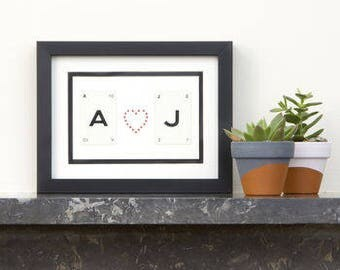 Personalised Initial Wedding Vintage Frame by Vintage Playing Cards FREE UK SHIPPING!