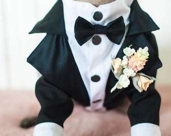 Classic Dog Tuxedo - Black Tie - Dog Wedding - Bow Tie -  Flower Boutonniere -  Dress Code - Formal suit - Evening dog outfit - Dog Birthday