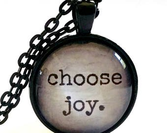 Choose Joy Necklace | Choose Joy Pendant | Gift Ideas | Hostess Gift | Glass Pendant | Joy Quote