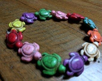 Multicolored Turtle Stretch Bracelet