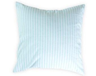 Blue stripes pillow cover - Blue white throw pillow