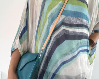 Turquoise leather crossbody bag, clutch, shoulder bag, raw edges