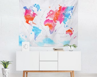 World Map Wall Decor Malaysia. World Map Wall Decor  Hanging Tapestry map tapestry Etsy
