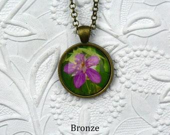 Pink Wildflower Photo Necklace Flower Jewelry Pink Wildflowers Photo Jewelry Nature photography