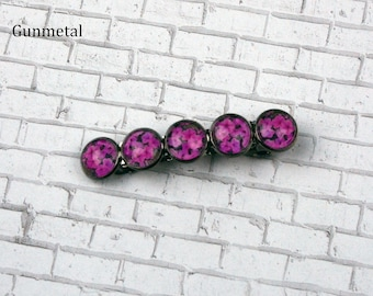 Pink Impatiens Flower Barrette in Gunmetal Setting Flower Barrette Flower Hair Pin Flower Hair Clip Nature Jewelry Photo Jewelry