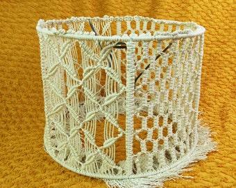 Vintage macrame lampshade, light shade, large drum shade, boho 70s style, cream / white