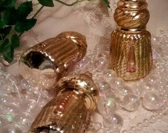 ON SALE 3 Vintage Gold Tassel Mercury Glass Christmas Ornaments by Krebs of Lauscha Germany