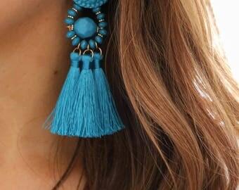 Tassel earrings, big earrings, blue earrings, turquoise earrings, long earrings, bold earrings, tassel jewelry, statement earrings, earrings