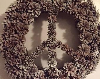 Peace sign pine cone wreath