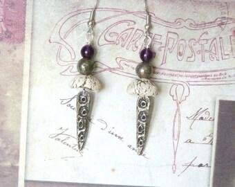 Tribal Earrings, Earthy Earrings, Ethnic Earrings, African Earrings, Pewter Earrings, Ceramic Earrings, Artisan Earrings, Dangle Earrings