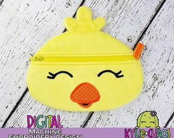 Chick Zippered Pouch ITH In the Hoop Machine Embroidery Design Pattern