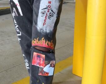 "Custom ""Love & Drugs"" Hand Painted Jeans"