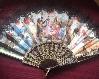 Vintage Spanish Hand Fan/ Folding Fan/ Flamenco Dancers/Bull Fighters/Spanish Souvenir/Black Lace - 1980's