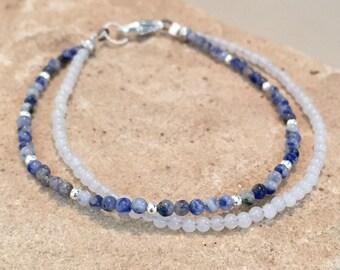 Blue and white bracelet, sodalite bracelet, white jade bracelet, sterling silver bracelet, double strand bracelet Hill Tribe silver bracelet