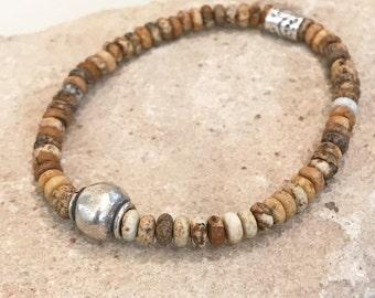 Natural bracelet, jasper bracelet, gemstone bracelet, Hill Tribe silver bracelet, elastic bracelet, stretch bracelet, brown bracelet