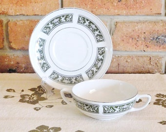 Wood & Sons Ironstone 'Alpine White' small twin handle soup, sweets bowl, matching saucer, 1960s