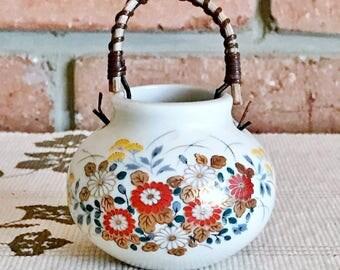 Japanese minature vintage Kutani pot with cane handle, 24K porcelain gilt, floral design, 1960s collectable
