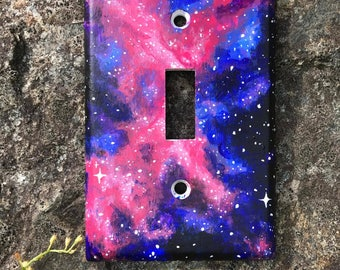 Hand Painted Galaxy Pattern lightswitch cover / wall plate / switchplate cover, single switch for the home