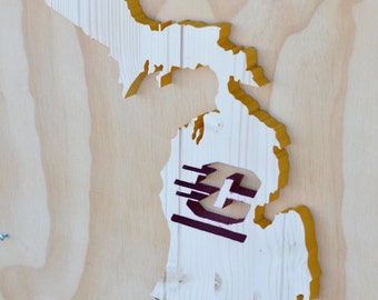 Central Michigan Chippewas Michigan State Wood Cutout