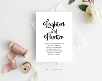 LEIGHTON SUITE || Printable Wedding Invitation, RSVP, Insert, Details, Belly Band, Modern, Simple, Bold, Names