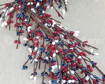 Americana Berry Garland, Patriotic Pip Berry Garland, 4th of July Garland, Primitive Patriotic Garland