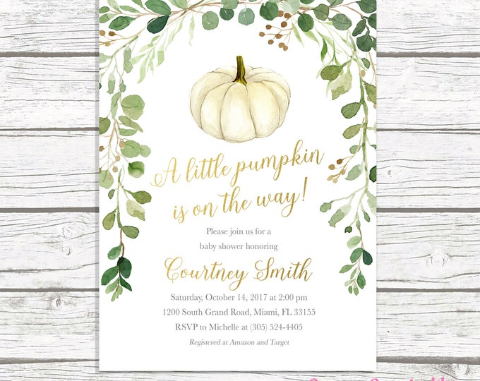 Pumpkin Baby Shower Invitation, Little Pumpkin on the Way Invitation, Green Leaves Gender Neutral Baby Shower Invite, Fall Baby Shower