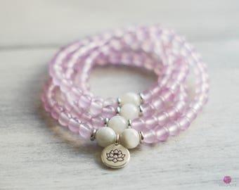 ALIGN - Lavender Quartz 108 Mala - Healing Bracelet - Wrist Mala - Intention Mala - Yoga Bracelet - Gemstone Mala - Healing Jewelry