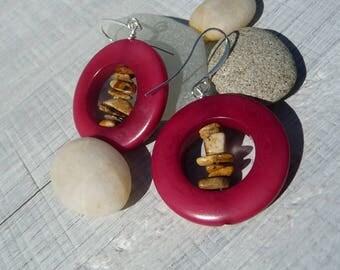 natural red tagua earrings, picture jasper earrings, nuggets gemstones , natural jewelry, organic jewelry, boho earrings, handmade, gift