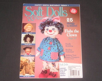 "Soft Dolls & Animals Magazine February / March 2002, Flubs the Clown, Jointed Teddy Bear, 25"" Cowboy, Soft Sculpture Elf, Beaded Hair"