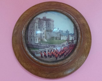 Vintage Windsor Castle WALL PLAQUE Military Band Under Glass Dome