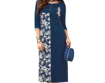 Indian Pakistan Bollywood Designer Kurti Designer Women Ethnic Blue & Off White Colored Madal Kurti Top Tunic Kurta women kurti top