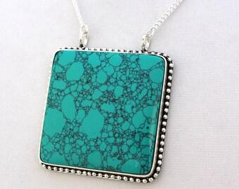 Plus Size Turquoise Necklace - Turquoise Necklace -  Plus Size Necklace - Plus Size Jewelry - Large Pendant Necklace - Holiday Gift