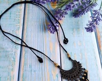 Macrame Necklace Tribal Gypsy Necklace Ethnic Boho Oriental Necklace Micro Macrame